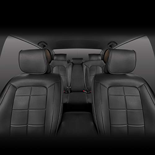 Motor Trend SeatWrap Leatherette Car Seat Covers - PU Leather Seat Cushion Protector - Full Interior Set Front & Rear - Charcoal Accent Piping on Black