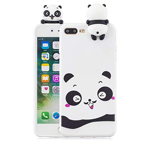 LAXIN Case Compatible with iPhone 7 Plus / 8 Plus Soft TPU Silicone Cute Panda Flexible Cute Animal Protective Back Cover Girly Matte Cover Protective Ultra Thin Slim Bumper One Piece Shockproof