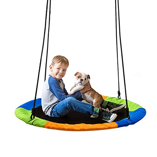 40' Saucer Tree Swingfor Kids Outdoor Adjustable Rope Disc Swing for Backyard Large Round Swing Seat for Children Adults (Colorful) (3 Color)