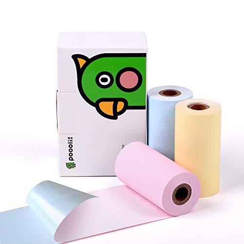 Impresora de papel adhesivo-3 Color (azul, rosa, amarillo) Papel adhesivo para impresora de bolsillo térmica