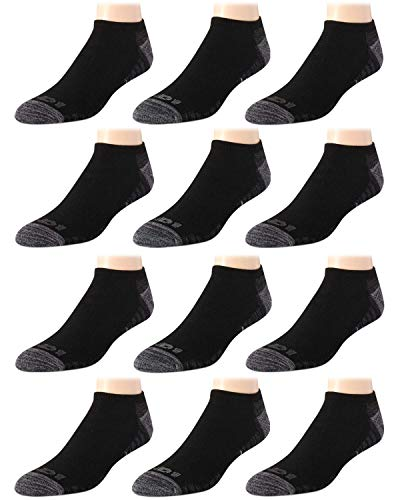 AND1 Men's High Performance No Show Low Cut Athletic Socks (12 Pack), Black/Grey, Size Shoe Size: 6-12.5'