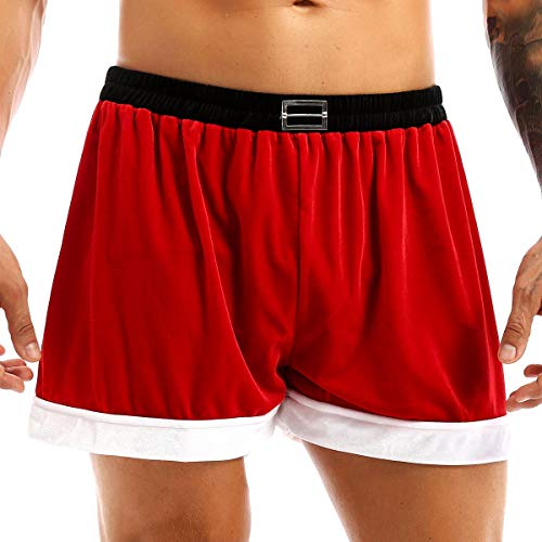 """iEFiEL Mens Flannel Christmas Santa Claus Costume Festival Holiday Boxer Shorts Underwear Trunks Underpants Red L (Waist: 33.0-55.0""""/84-140cm)"""