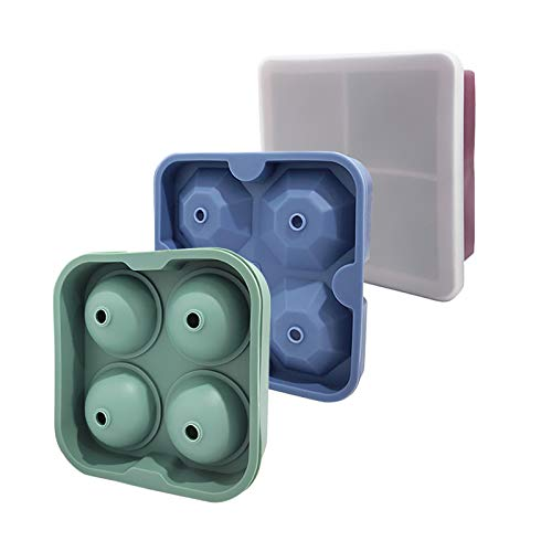 TEHOOK Silicone Whiskey Ice Cube Trays, Reusable Ice Ball Cubes Maker Mold Square Diamond Ball With Lid for Cocktails, Freezing Sauces, Baby Food, and Frozen Treats