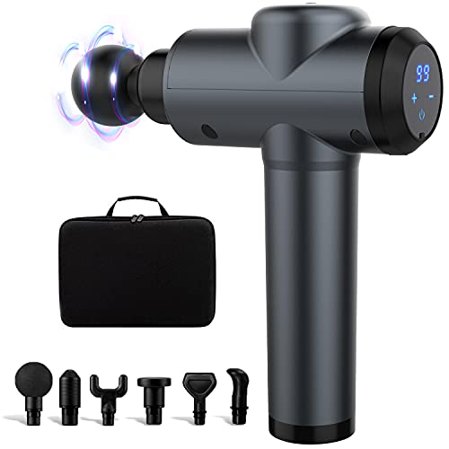 Portable Massage Gun Deep Tissue Massager, Muscle Massage Gun Percussion Massage Gun, Handheld Electric Deep Tissue Percussion Massager with 6 Massage Heads and 30 Speed for Gym Office Home, Grey