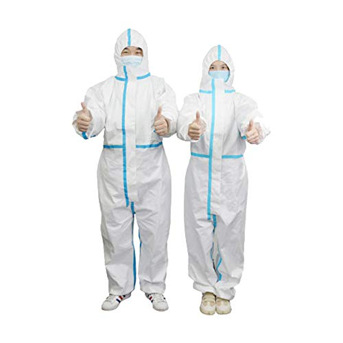 Protective Overalls Disposable Coveralls for Full Protection with Reinforced Isolation Seam Elastic Cuff and Hood  (L)