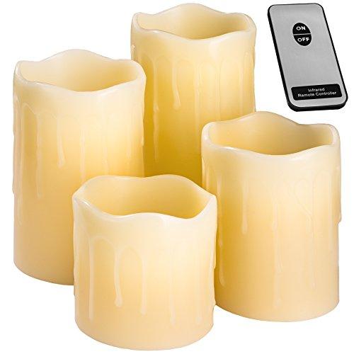 TecTake LED Kerzen mit Fernbedienung | flammenlose Echtwachskerzen | batteriebetrieben | diverse Mengen (4er Set | no. 401005)