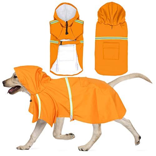 QUACOWW Chubasquero para perros medianos y grandes, ajustable, impermeable, con capucha reflectante ligera, poncho de lluvia de seguridad para caminar al aire libre (naranja)
