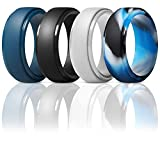 kmeixi Silicone Wedding Ring for Men- Metallic,Black and Camo Colors,Breathable Mens' Rubber Wedding