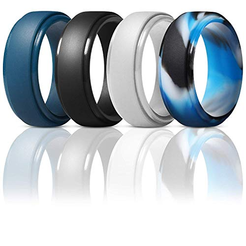Silicone Wedding Ring for Men - Sleek Design - Metallic, Black and Camo Colors - Breathable Mens' Rubber Wedding Bands for Crossfit Workou (Black, Grey, Blue,Blue Camo, 9 - (18.85mm))