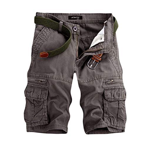 GTPT-103154 GreatestPAK Pants Pure Color Shorts Herren Outdoor Taschen Strand Arbeit Hosen Cargo Pant,32(M),Grau