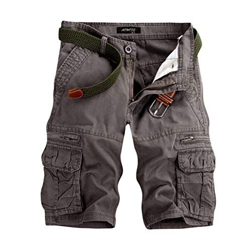 GreatestPAK Pants Pure Color Shorts Herren Outdoor Taschen Strand Arbeit Hosen Cargo Pant (34(XL), Grau)