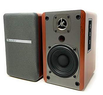 Singing Wood BT27 Powered Bluetooth Bookshelf Speaker Studio Monitor with 2 Auxiliary Line Input 27W x 2- Walnut Wood Finish-Pair