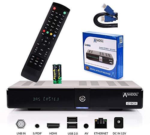 ANADOL IZYBOX 4K UHD Sat-Receiver - S2X-Tuner, 2X USB, vorinstallierte Sender, PVR Aufnahmefunktion, Timeshift, VFD-Display, Internet-Radio, 2160p, HDR, HDMI, EPG, LAN, DVB-S2, + HDMI Kabel