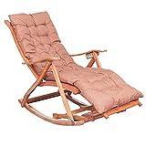 FSJD Sillas mecedoras con reposapiés de Masaje/Mecedora de bambú Plegable para Exteriores con Almohada/Sillón reclinable portátil, Marrón, 76cm × 62cm × 36cm