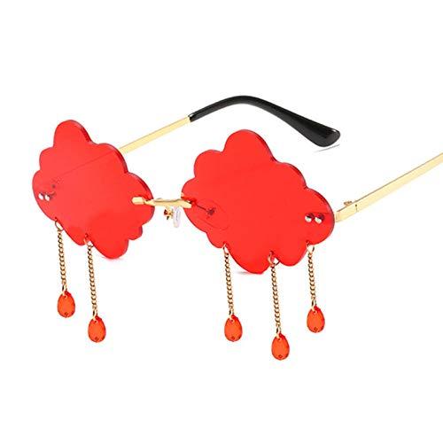 U/N Gafas de Sol Redondas de Moda con Nubes para Mujer, Gafas de Sol con Borla sin Montura Vintage para Mujer, Lujo para Mujer, 5
