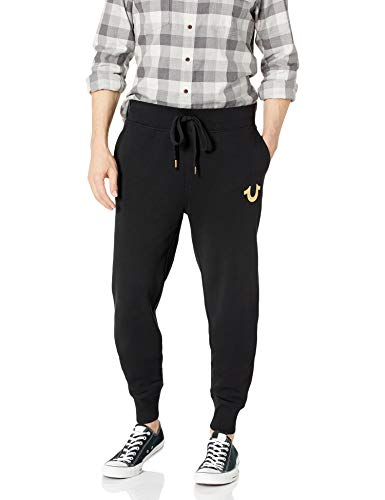 True Religion Men's Metallic Buddha Fleece Runner Pant1, Black/Gold Print, S