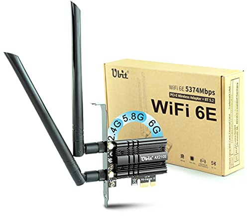 Ubit WiFi 6E Supports 6GHz 7th Generation PCIe WiFi Card, Up to 5400Mbps, Bluetooth 5.2, AX210 Wireless WLAN Adapter with MU-MIMO,OFDMA,Ultra-Low Latency, Supports Windows 10 (64bit) only