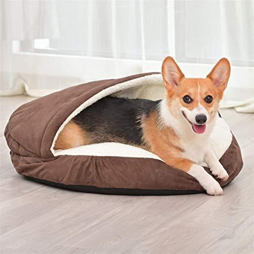 Cama para Perros y Gatos Extraíble y Lavable Cama para Perros Cueva para Gatos Nido para Dormir Profundamente Relleno de Algodón (Color : Brown, Size : 64X10CM)