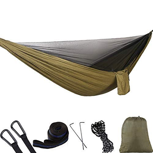 CttiuliZpe Tent, 290 x 140cm Outdoor Hammock Swing with Integrated Mosquito Curtain Bugs Net Extension Straps Clips Ground Rope Ground Nails,Outdoor Tents for Backyard, (Color : Military Green)