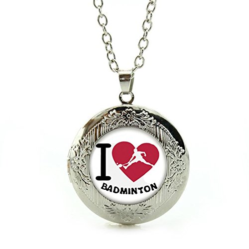 Women's Custom Locket Closure Pendant Necklace I Love Badmintons Included Free Silver Chain, Best Gift Set