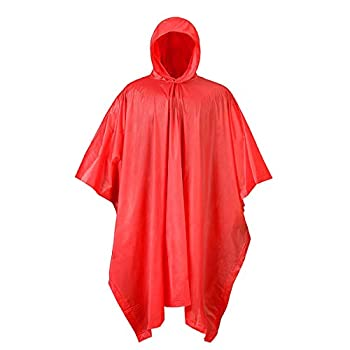 RPS Outdoors Waterproof Hooded PVC Rain Poncho  Red  50 in x 80 in.