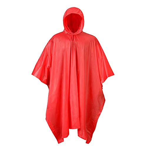 RPS Outdoors Waterproof Hooded PVC Rain Poncho (Red) 50 in. x 80 in.