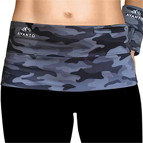 AVANTO Slim Fit Running Belt with Zippered Wrist Wallet, Phone Holder for Running, Passport Holder, Travel Money Belt, Waist and Fanny Pack for Women and Men, Feels Like Second Skin (Camo, S)
