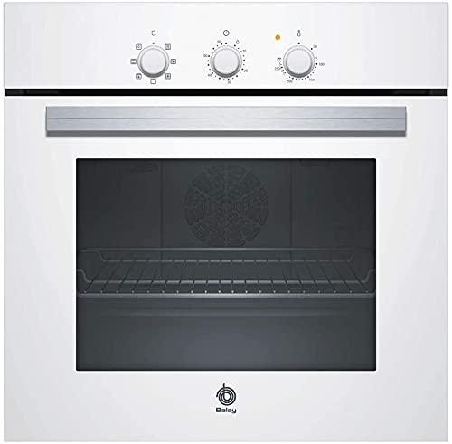 Balay, 3HB2010B0, Horno, A, 60 cm, 0,79 kWh/ciclo convencional, Inox | Cooking 3D, Blanco, 5 funciones, Avisador de paro de cocción