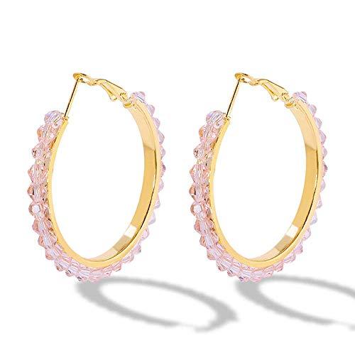 OUHUI Pendientes de Perlas Imitadas Hechas a Mano Pendientes de Aro para Mujeres Pendientes de Círculo en Forma de C Decoraciones/D
