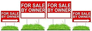 for Sale by Owner Sign Kit (FSBO) - Premium Double-Sided Waterproof Signs with Stakes - Reusable 4 Pack Signs - (2) 12