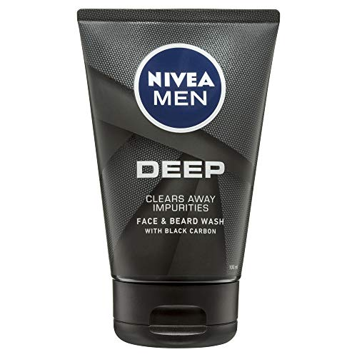 NIVEA Men Deep Face & Beard Wash (100ml), Male Face Wash with Black Carbon to Cleanse your Skin and Clear away Impurities