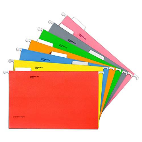 Carpeta colgante lateral, 7 piezas, A4, respaldo colgante vertical, para armario, cajón, colores surtidos, respaldo de suspensión, portadocumentos de cartón, para oficina, hospital o escuela.