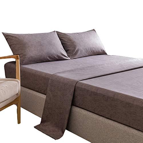 SZ JIAOJIAO Drap - taie de Quatre pièces avec la Texture de Couleur Unie et Imitation Linge de lit en Coton,Marron,96x81 in