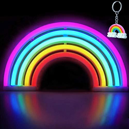 XIYUNTE Rainbow Néon Enseignes Lèvre lumineuses Décoration murale, Batterie et USB alimenté coloré arc en ciel Néons Applique murale Intérieur Luminaires pour chambre,Saint Valentin,Éclairage de Noël