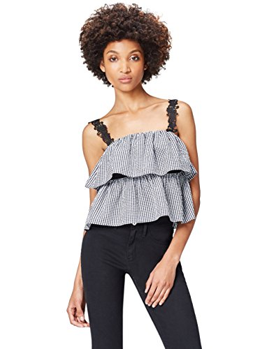 Amazon-Marke: find. Bluse Damen schulterfrei mit Volants, Schwarz (Black/white Check), 38, Label: M