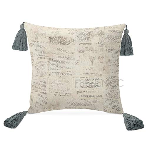 Odeletqweenry Funda de almohada con borlas, macramé, decoración del hogar, con palabras inglesas antiguas, con borlas para decoración de dormitorio, sala de estar
