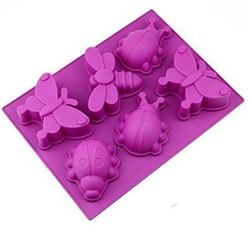 Pure Vie® 6er Silikon Backform/Muffinform für Muffins, Brownies, Cupcakes, Kuchen, Pudding, Eiswürfel und Gelee - Schmetterling und Libelle