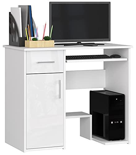ADGO Jay Escritorio de 90 x 74 x 50 cm, 1 cajón y 1 armario, bandeja extraíble para teclado, mesa de oficina para trabajo, estudio, habitación de los niños, para estudiantes, color blanco brillante