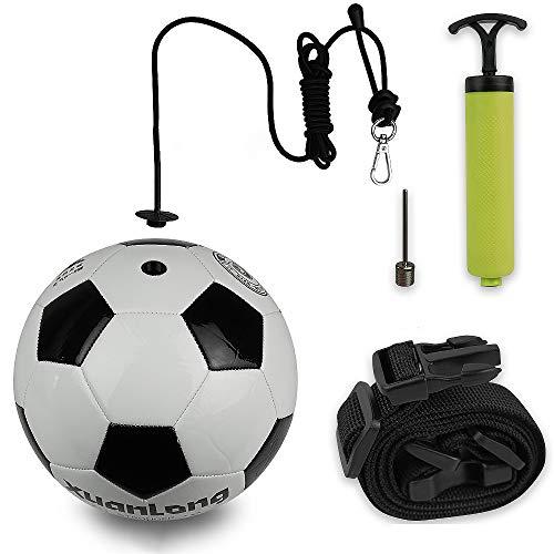 NIMIFOOL Entrenamiento de fútbol Asistencia Deportiva Entrenador de fútbol Ajustable Conjunto de Equipo de Entrenamiento de cinturón de práctica de balón de fútbol,#3-5PC-A