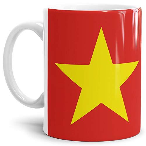 Tassendruck Flaggen-Tasse/Souvenir/Urlaub/Länder-Fahne/Kaffetasse/Mug/Cup - (Vietnam, Normal)