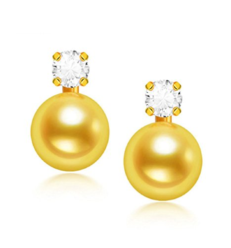 GOWE mejor regalo 18K oro pendientes de perlas 7,5–8mm auténtica japonés Akoya pendientes de perlas