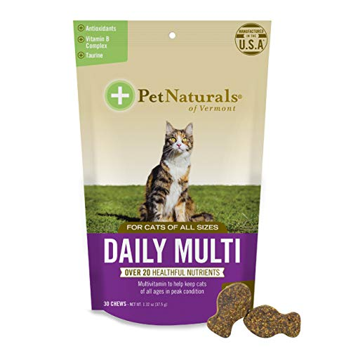 Pet Naturals - Daily Multi for Cats, Daily Multivitamin Formula with Taurine, Arginine & Biotin, 30 Fish Flavored Chews