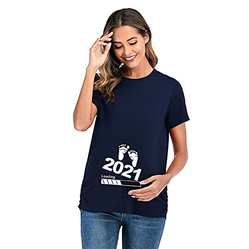 QiKun-Home Camiseta cómoda para Mujer Embarazada Camiseta de Manga Corta con diseño de números Camiseta Suave y de Moda Azul Grande