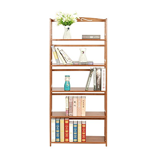 maxgoods Bamboo Bookcase 5-tier,Easy Assembly Heavy Duty Bookshelf,Media Plants Cabinet Storage Unit,Sturdy and Versatile Construction,Home Office Furniture (5-tier)