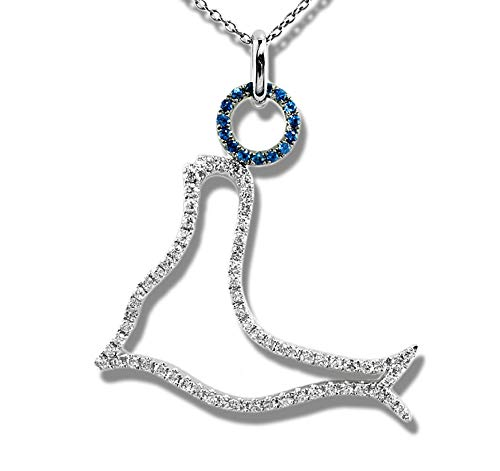 K18WG 天然ダイヤモンド 0.39ct 天然サファイア 0.09ct 18金ホワイトゴールド ペンダント チャーム レディース