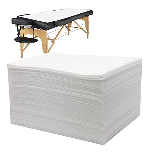 "Bozikey Massage Table Sheets 100PCS, Disposable Bed Sheets for Massage Table, Spa Bed Covers for Esthetician, Tattoo, Waxing, Lash Bed, Salon Table, Non-Woven Fabric 71"" x 31""(White)"