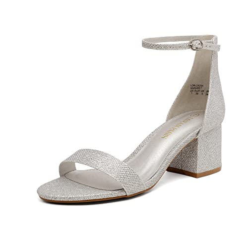 DREAM PAIRS Women's Low-Chunk Silver Glitter Low Heel Pump Sandals - 7.5 M US