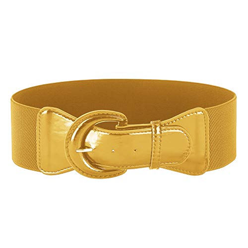 GRACE KARIN Women's Soft Wide Stretchy Cinch Belt Plus Size Vintage Elastic Waist Belts (Mustard,2XL)