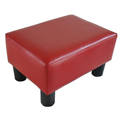 HomCom Modern 15' Rectangular Faux Leather Ottoman Footrest- Red