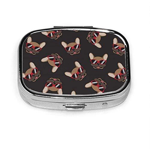 Dog French Bulldog Smile Sunglasses Case Portable Mini Container Organizer with 2 Compartments Square Pill Box